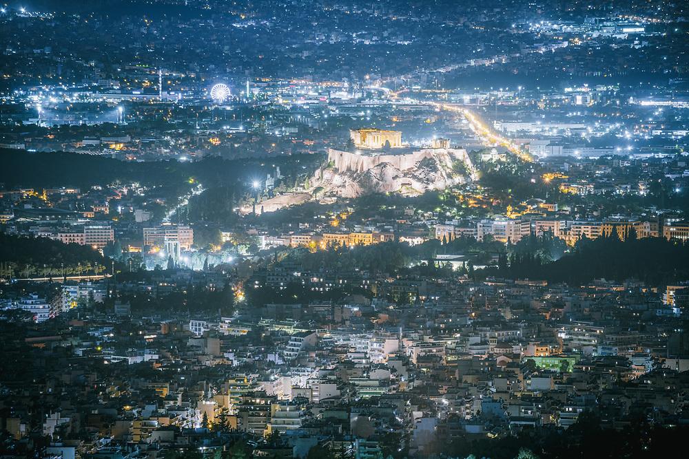 Acropolis of Athens at night, Greece
