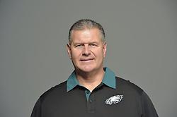 Jeff Stoutland of the Philadelphia Eagles poses for a portrait at NovaCare Complex on February 17, 2016 in Philadelphia, Pennsylvania. (Photo by Drew Hallowell/Philadelphia Eagles)