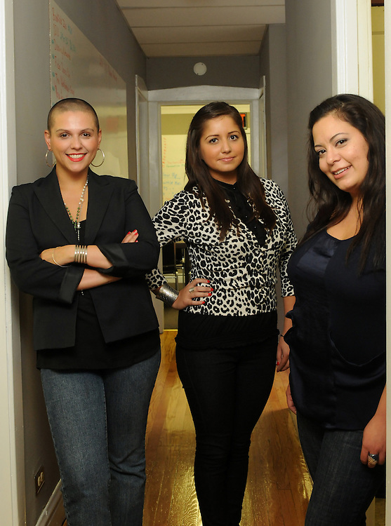 Nilda Esparza (L to R) is Executive Director of the Little Village Chamber of Commerce in Chicago. She is photographed with Outreach Liason Vanessa Alvarez and Marketing Executive Claudia Renteria.