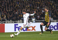 ATHENS, Nov. 3, 2017  Riccardo Montolivo (L) of AC Milan shoots during the UEFA Europa League group D match between AEK Athens and AC Milan in Athens, Greece on Nov. 2, 2017. The match ended with a 0-0 tie. (Credit Image: © Lefteris Partsalis/Xinhua via ZUMA Wire)