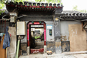 Entry way into a traditional courtyard home called a siheyuan or hutong home in Beijing, China
