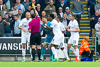 Football - 2016 /2017 Premier League - Swansea City vs Manchester City<br /> <br /> Swansea protest after referee Swarbrick awards a penalty  & shows the yellow card to Mike van der Hoorn of Swansea at the Liberty Stadium.<br /> <br /> <br /> PIC COLORSPORT/WINSTON BYNORTH