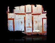 Roman fresco wall decorations of  Vestibule of a Rome Villa, Rome. Museo Nazionale Romano ( National Roman Museum), Rome, Italy. Against a black background.<br /> <br /> A large fresco covered the curving wall of the vestibule E 5 was positioned at the entrance of the house onto the street. Vitruvius claims that the vestibulum was a room which was not needed by common people, but which was essential in a house worthy of respect, because it served to welcome guests and the people who came to be received by the owners of the house. The frescoed decoration of this wall, which was entirely detached, shows a division into panels, architectural perspectives and pavilions among which are figures and decorative elements, above a band of skirting. Numerous panels have been detached from the corridor E 3 E 11 which connected all the areas of the house, but it has not been possible to reconstruct the sequence of the walls. Inside the frames, against a white background, different decorative elements are arranged, along with hanging female and male figures, hippogriffs and other fantastical animals, vases, garlands and vegetation. .<br /> <br /> If you prefer to buy from our ALAMY PHOTO LIBRARY  Collection visit : https://www.alamy.com/portfolio/paul-williams-funkystock/national-roman-museum-rome-fresco.html<br /> <br /> Visit our ROMAN ART & HISTORIC SITES PHOTO COLLECTIONS for more photos to download or buy as wall art prints https://funkystock.photoshelter.com/gallery-collection/The-Romans-Art-Artefacts-Antiquities-Historic-Sites-Pictures-Images/C0000r2uLJJo9_s0