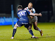 Exeter Chiefs wing Tom O'Flaherty drives into Sale Sharks full back Luke James during a Gallagher Premiership Round 11 Rugby Union match, Friday, Feb 26, 2021, in Eccles, United Kingdom. (Steve Flynn/Image of Sport)