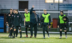 Arbroath's manager Dick Campbell at the end. Stenhousemuir 1 v 4 Arbroath, Scottish Football League Division One play12/1/2019 at Ochilview Park.