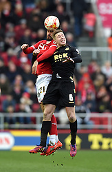 Marlon Pack of Bristol City battles for the high ball with Josh Vela of Bolton Wanderers  - Mandatory byline: Joe Meredith/JMP - 19/03/2016 - FOOTBALL - Ashton Gate - Bristol, England - Bristol City v Bolton Wanderers - Sky Bet Championship