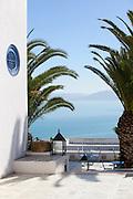 Terrace overlooking Gulf Of Tunis; Sidi Bou Said; Tunisia