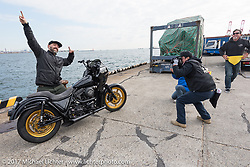 The Cutrate's Oliver Jones' custom 1984 Harley-Davidson FXR at the docks where it was picked up with all of the invited builder's bikes for the Mooneyes show. Yokohama, Japan. Saturday December 2, 2017. Photography ©2017 Michael Lichter.