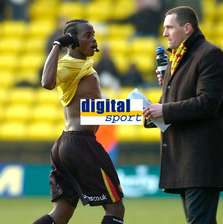 Photo: Alan Crowhurst.<br />Watford v Derby County. Coca Cola Championship. 04/03/2006. Al Bagura (L) of Watford celebrates infront of manager Adrian Boothroyd.