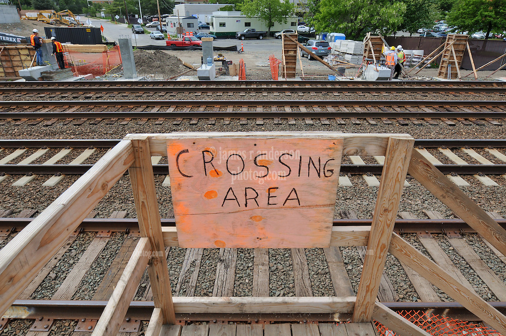 Crew Crossing Area and Sign above Platform Footings. Additional View taken during Construction Progress Photography of the Railroad Station at Fairfield Metro Center - Site visit 11 of once per month Chronological Documentation.