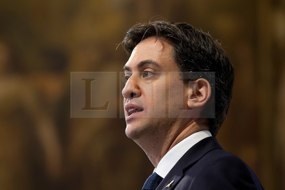 © Licensed to London News Pictures. 25/11/2013. London, UK. Labour leader Ed Miliband talks during the presentation of a report by the Independent Commission on the future of Policing in England and Wales, at the Royal Society of Arts in London today (25/11/2013). Photo credit: Matt Cetti-Roberts/LNP