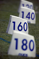 markers for the javelin throw at a track and field event