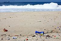 pollution on the copacabana beach in rio de janeiro in brazil