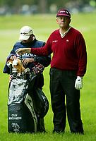 Photograph: Scott Heavey<br />Volvo PGA Championship At Wentworth Club. 23/05/2003.<br />Colin Montgomerie and new caddie Stevie Rawlinson.