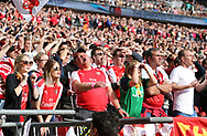 Arsenal's fans look on nervously during the FA Cup Semi Final match at Wembley Stadium, London. Picture date: April 23rd, 2017. Pic credit should read: David Klein/Sportimage