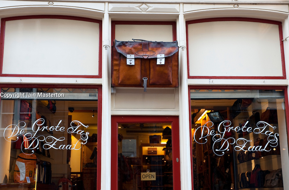 Exterior of leather luggage shop in central Amsterdam in Netherlands