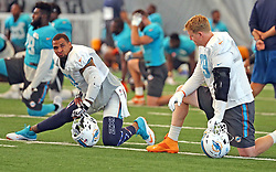August 28, 2017 - USA - Miami Dolphins center Mike Pouncey (51) and lineman Sam Young (79) on Monday, Aug. 28, 2017 at the Miami Dolphins training facility in Davie, Fla. (Credit Image: © Charles Trainor Jr/TNS via ZUMA Wire)