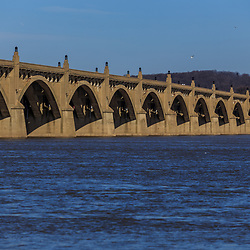 The Columbia Wrightsville Bridge spans the Susquehanna River in Lancaster County, PA.