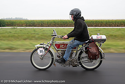 Jeff Lauritsen riding his 1914 Excelsior in the Motorcycle Cannonball coast to coast vintage run. Stage 5 (229 miles) from Bowling Green, OH to Bourbonnais, IL. Wednesday September 12, 2018. Photography ©2018 Michael Lichter.