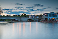Caversham Bridge and Pipers Island on the River Thames at sunset, Reading, Berkshire, Uk