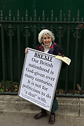 On the day that the UK Parliament once again votes on an amendment of Prime Minister Theresa Mays Brexit deal that requires another negotiation with the EU in Brussels, pro-EU protesters gather outside the House of Commons, on 29th January 2019, in Westminster, London, England.