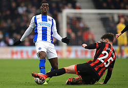 Brighton & Hove Albion's Yves Bissouma (left) and Bournemouth's Jack Simpson battle for the ball during the Emirates FA Cup, third round match at the Vitality Stadium, Bournemouth.