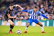 Brighton and Hove Albion (19) José Izquierdo, Crystal Palace #34 Martin Kelly during the The FA Cup 3rd round match between Brighton and Hove Albion and Crystal Palace at the American Express Community Stadium, Brighton and Hove, England on 8 January 2018. Photo by Sebastian Frej.