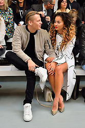 © Licensed to London News Pictures. 20/02/2016. LEWI MORGAN and ELLA EYRE attends the JASPER CONRAN Autumn/Winter 2016 show. Models, buyers, celebrities and the stylish descend upon London Fashion Week for the Autumn/Winters 2016 clothes collection shows. London, UK. Photo credit: Ray Tang/LNP