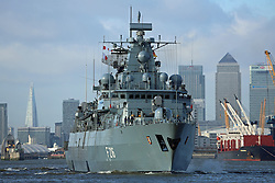 © Licensed to London News Pictures. 27/01/2014. The German frigate Schleswig Holstein has left London after a short visit to the capital. The Brandenburg-class vessel will take part in the Royal Nav's Cougar 14 deployment later this year. Credit : Rob Powell/LNP