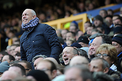 An Everton fan shouts at his team - Photo mandatory by-line: Dougie Allward/JMP - Tel: Mobile: 07966 386802 23/11/2013 - SPORT - Football - Liverpool - Merseyside derby - Goodison Park - Everton v Liverpool - Barclays Premier League