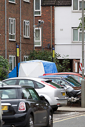 © Licensed to London News Pictures. 19/09/2013. London, UK. A police forensics tent is seen at the scene of a shooting on Coppock Close in Battersea London today (19/09/2013). Taking place at around 8pm last night a 19 year old male was pronounced dead at around 9pm. Photo credit: Matt Cetti-Roberts/LNP