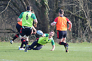 George North © passes the ball. Wales rugby team training at the Vale Resort, Hensol near Cardiff on Tuesday 5th March 2013.  pic by  Andrew Orchard, Andrew Orchard sports photography,
