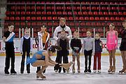 Moscow, Russia, 06/03/2004..Twice Russian Junior Champion Lilya Biktatirova being trained by chief coach Svetlana Sukolovskaya on the main rink at the TsKA [Central Red Army] club..