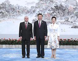 (170904) -- XIAMEN, Sept. 4, 2017 (Xinhua) -- Chinese President Xi Jinping and his wife Peng Liyuan welcome Brazilian President Michel Temer before a banquet for those attending the ninth BRICS summit and the Dialogue of Emerging Market and Developing Countries in Xiamen, southeast China's Fujian Province, Sept. 4, 2017. (Xinhua/Ma Zhancheng) (mcg) (Photo by Xinhua/Sipa USA)