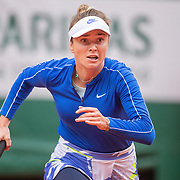 PARIS, FRANCE October 06.  Elina Svitolina of the Ukraine in action against Nadia Podoroska of Argentina in the Quarter Finals of the singles competition on Court Philippe-Chatrier during the French Open Tennis Tournament at Roland Garros on October 6th 2020 in Paris, France. (Photo by Tim Clayton/Corbis via Getty Images)