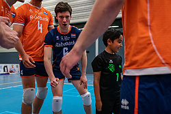 The first serve for Luca Ratterman during the Olaf Ratterman Memorial match between Netherlands vs. Eredivisie All Star team on May 03, 2021 in Barneveld.