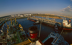 Aerial view of tankers docked in the Port of Houston