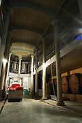 The cathedral like winery building with enormous pillars. Domaine Viret, Saint Maurice sur Eygues, Drôme Drome France, Europe