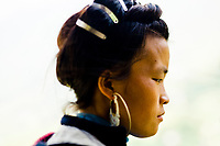 A portrait of a young Hmong woman in Sapa, Vietnam.