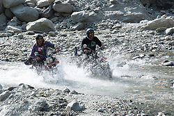 Beanre (Kevin Doebler) and Scotty Busch make their way through a fun spot as we were beginning to understand water would keep crossing our path on day-4 of our Himalayan Heroes adventure riding from Pokhara to Kalopani, Nepal. Friday, November 9, 2018. Photography ©2018 Michael Lichter.