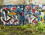 Street art painting in old mill building in Vernonia, Oregon depicting black cat