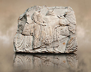 Marble Releif Sculptures from the south frieze around the Parthenon Block XLI 122-124. From the Parthenon of the Acropolis Athens. A British Museum Exhibit known as The Elgin Marbles. End of the South freize as cattle are led to be sacrificed .<br /> <br /> If you prefer to buy from our ALAMY STOCK LIBRARY page at https://www.alamy.com/portfolio/paul-williams-funkystock/greco-roman-sculptures.html . Type -    Elgin    - into LOWER SEARCH WITHIN GALLERY box - Refine search by adding a subject, place, background colour, etc.<br /> <br /> Visit our ROMAN WORLD PHOTO COLLECTIONS for more photos to download or buy as wall art prints https://funkystock.photoshelter.com/gallery-collection/The-Romans-Art-Artefacts-Antiquities-Historic-Sites-Pictures-Images/C0000r2uLJJo9_s0