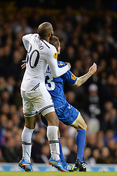 19.09.2013, White Hart Lane, London, ENG, UEFA Champions League, Tottenham Hotspur vs Toromsoe IL, Gruppe K, im Bild Tottenham's Sandro and Tromso's Zdenek Ondrasek compete for the ball during UEFA Champions League group K match between Tottenham Hotspur vs Toromsoe IL at the White Hart Lane, London, United Kingdom on 2013/09/19 . EXPA Pictures © 2013, PhotoCredit: EXPA/ Mitchell Gunn <br /> <br /> ***** ATTENTION - OUT OF GBR *****