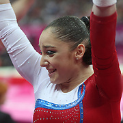 Aliya Mustafina, Russia, winning the Gold Medal in the Gymnastics Artistic, Women's Apparatus, Uneven Bars Final at the London 2012 Olympic games. London, UK. 6th August 2012. Photo Tim Clayton