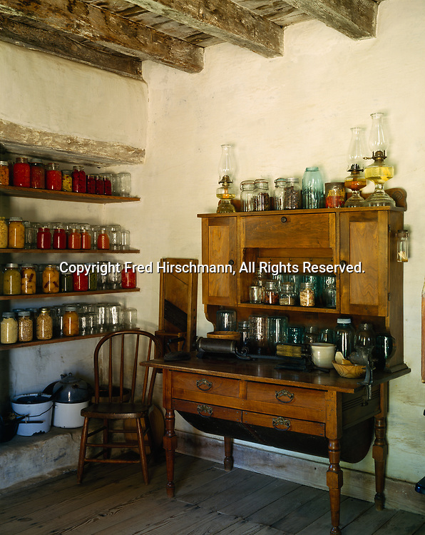 Mason jars filled with home-canned products used by German-Americans, Sauer-Beckman Farmstead, Texas Hill Country, Lyndon B. Johnson State Park and Historic Site, Texas.