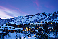 The Four Seasons Resort sits below the ski slopes of Jackson Hole Mountain Resort in Jackson Hole, Wyoming.