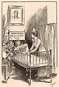 Lewis Carrol cot, in Alice Ward, Great Ormond Street Hospital for Children, London. Named for the author of 'Alice's Adventures in Wonderland'  Lewis Carol pen name of the English mathematician Charles Lutwidge Dodgson (1832-1898). Funded by readers to the 'Pall Mall Gazette'. Wood engraving, 1906.