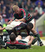 Leicester, Leicestershire, 3rd May 2003, Welford Road Stadium, [Mandatory Credit: Peter Spurrier/Intersport Images],Zurich Premiership Rugby - Leicester Tigers v London Irish<br /> Paul Sackey drives through George Chuter on the floor and Adam Baldwin ripping Sackey's Shirt
