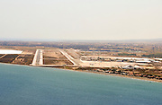 runway approach shot at the Larnaca airport, Cyprus
