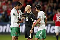 Fotball, 7. september  2010 ,  EM-kvalifisering<br /> Norge - Portugal 0-1<br /> <br /> Norway - Portugal<br /> Euro-Qual.<br /> dommer Lauren Duhamel og Hugo Almeida , Portugal<br /> Foto: Anders Hoven , Digitalsport